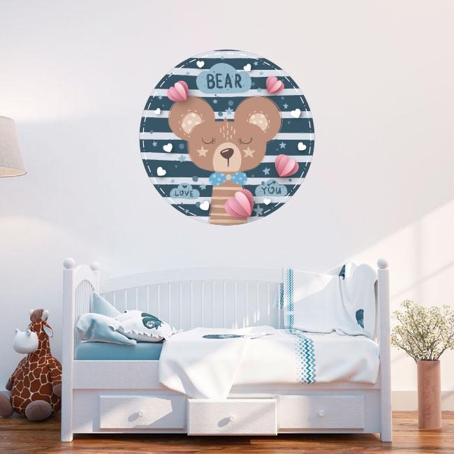 Vinyle et stickers pour enfants ou bébés ours romantique