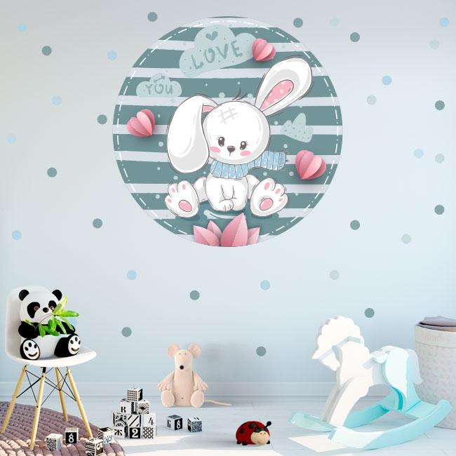 Vinyle et stickers pour enfants ou bébé lapin romantique