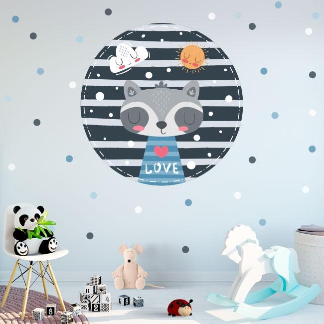 Vinyle et stickers pour enfants ou bébés raton laveur