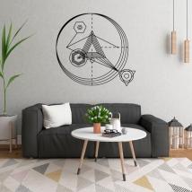 Vinyles décoratifs triangles avec des traits et des cercles